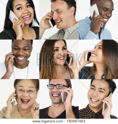 Set of Diverse People Using Smart Phone Studio Collage