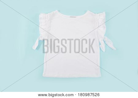female white dress –light blue background
