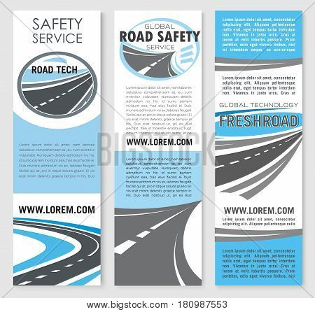 Road safety service technology banners. Vector template design for highway transport traffic and transportation routes repair and construction service company for motorway bridges and pathway tunnels