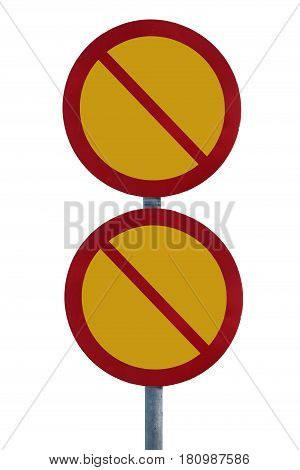 Blank not allowed sign post, isolated on white backgrounds