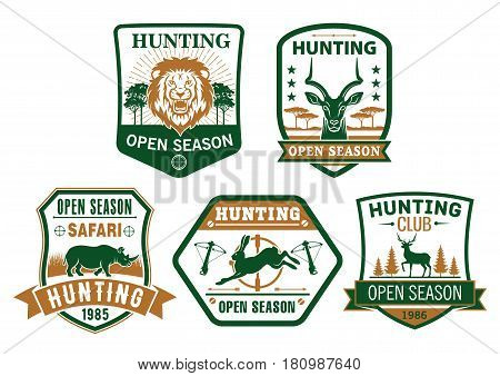 Hunting club icons or hunter open season vector badges set. Wild animals african safari lion, gazelle and rhinoceros, hare or rabbit and elk or forest deer. Hunt adventure guns, riffles and crossbows