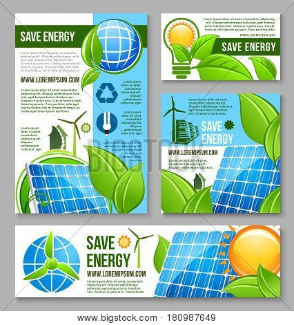 Green energy technology business banner template. Green city and house with solar panel and wind turbine, recycle symbol, light bulb and globe with green plant for save energy poster or flyer design