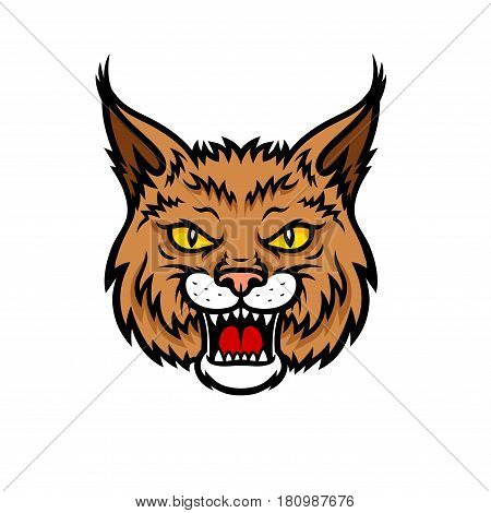 Bobcat lynx vector mascot icon of wild cat or panther animal muzzle or snout with jaws. Isolated symbol or blazon for sport team, nature adventure scout club or tattoo sign