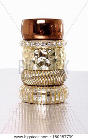 Female stacked of bracelet