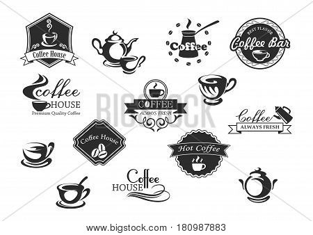 Coffee bar or cafe and cafeteria vector icons. Symbols of coffee beans and drinks. Cups, mugs and pots hot strong espresso or latte macchiato and americano frappe or chocolate for coffeeshop