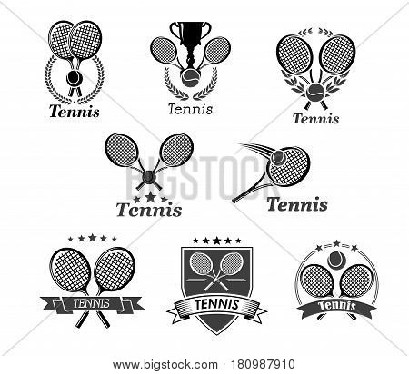 Tennis championship awards vector icons. Set of badges for sport club tournament with symbols of ball and rackets, victory laurel wreath ribbon and winner cup goblet with crown of stars