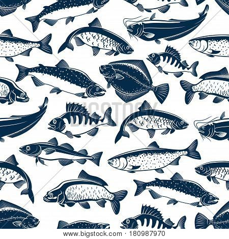 Fish seamless pattern of vector fishes. Fishing catch of tuna, pike and marlin or perch, bream, salmon and flounder or crucian, carp and mackerel sprat, sheatfish or catfish for seafood restaurant