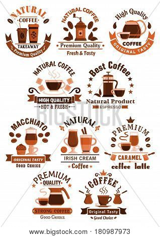 Coffee shop, cafe and cafeteria vector icons. Symbols of coffee makers and beans, cups of strong espresso, americano frappe or chocolate with biscuits and muffin desserts for coffeehouse design