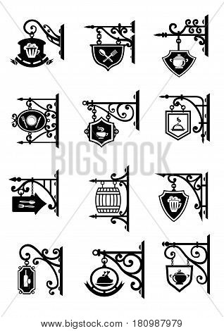 Vintage retro signboards and hanging shops signs. Vector metal forged old signage for bakery and beer drink pub, cafe or cafeteria, restaurant and eatery tavern with symbols of dishes and dishware