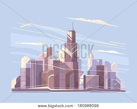 City landscape with skyscrapers. Business district panorama. Vector flat illustration