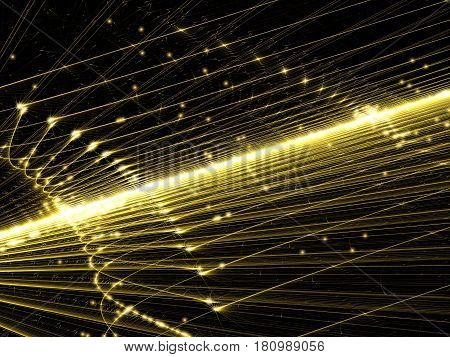 Glowing wire frame - abstract computer-generated image. Fractal art: lines and curves with light effects. Sci-fi, technology or hi-tech background for web design, covers, posters.