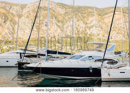 Sailboat near the old town of Kotor, Bay of Kotor, Montenegro