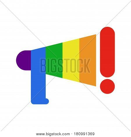 Coming Out Lgbt Sign.  Message Lesbians And Gays. Rainbow Megaphone. Icon Social Network. Symbol Rec