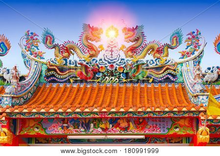 Chinese temple roof china ancient shrine colorful architecture with chinese language is name of construction donor.