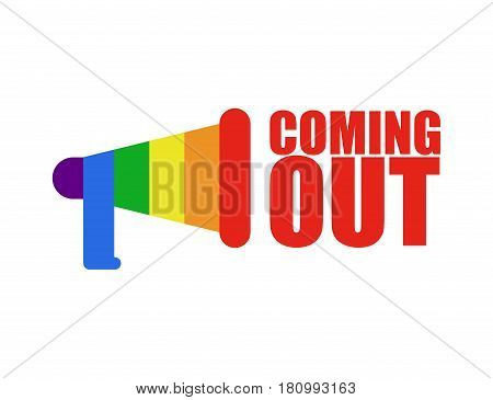 Coming Out Lgbt Sign. Icon Social Network. Rainbow Megaphone. Symbol Recognition Of Belonging To Sex