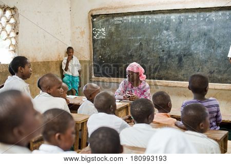 Kenya. Mombasa. January 25, 2012 African children in school at the desks in the classroom.Kenya
