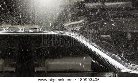 heavy rain drop on vintage car roof
