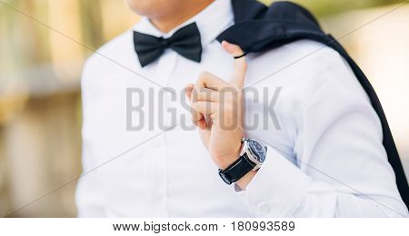 The bow tie. Close the frame. Male chin with bow tie