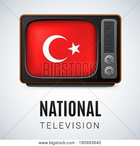 Vintage TV and Flag of Turkey as Symbol National Television. Button with Turkish flag