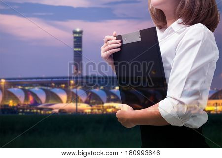 Multi Exposure. Young Business Woman In Airport Business