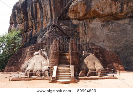 Lion paws pathway on Sigiriya rock Sri Lanka horizontal view