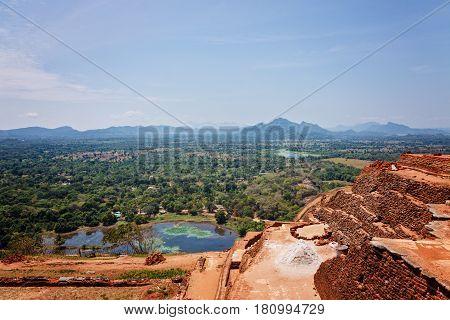 Ruins on top of Sigiriya palace horizontal view