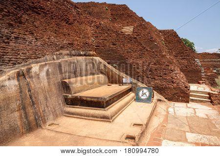 Ruins on top of Sigiriya palace vertical view