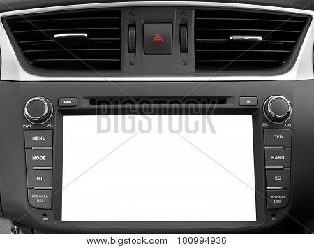 white copy space of touch screen interface navigation and multimedia system control, interior modern car dashboard