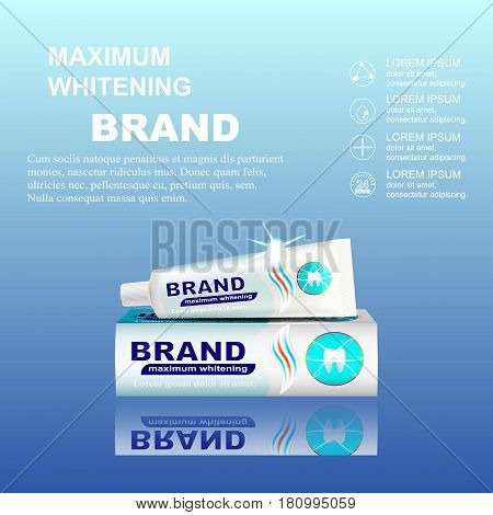 Packaging design for toothpaste ads. Vector illustration.