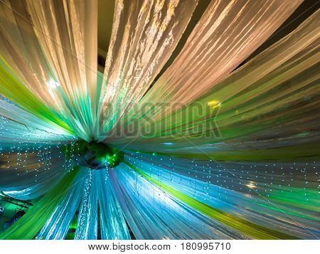Beautiful Colorful Wedding Decoration on Ceiling .