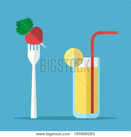 Red radish on white standing fork and glass of juice with orange slice and coctail straw on blue background. Healthy eating and diet concept. Flat design. Vector illustration. EPS 8 no transparency