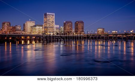 Richmond capital of Virginia USA just after dusk