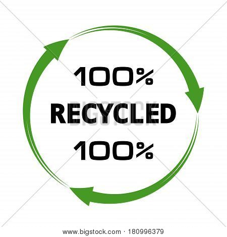 100 percent recycled arrows sign vector emblem 100 procentov processing