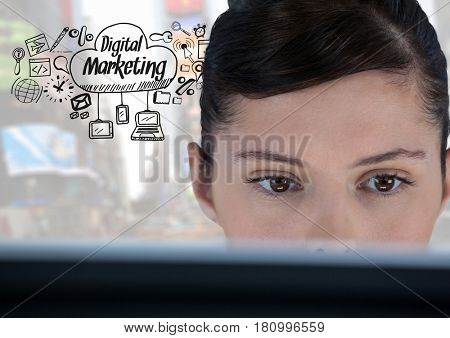 Digital composite of Woman on laptop with Digital Marketing text with drawings graphics