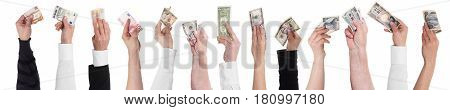 panorama with lot of hands holding different currencies concept important currencies