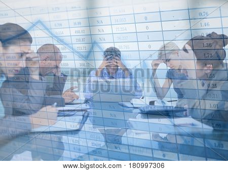 Digital composite of Stressfull business meeting with chart graphic overlay against blurry window
