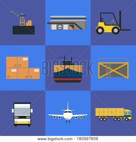 Logistics and freight transportation icons isolated vector illustration. Cargo jet airplane, freight crane, forklift truck, warehouse terminal, commercial truck, freight vessel. Worldwide delivery