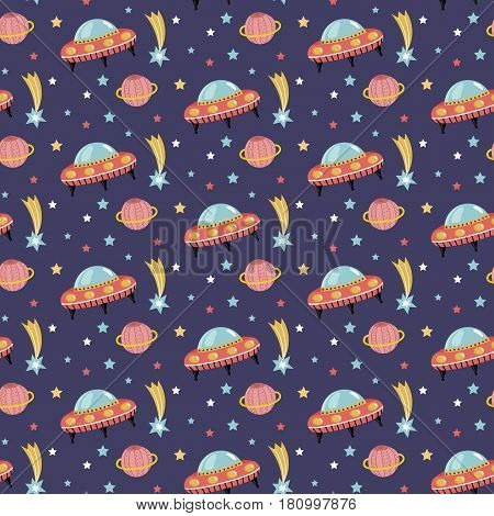 Alien spaceship in outer space cartoon seamless pattern. Flying saucer, stars, comet, saturn planet with ring on blue background vector illustration. For wrapping paper, greeting card, print on fabric