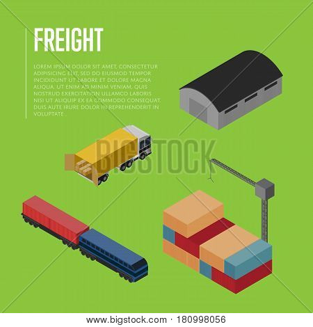 Freight shipment isometric banner vector illustration. Commercial truck loading, warehouse building, freight train, cargo crane loading container. Worldwide logistics, delivery transportation service