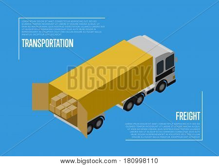 Transportation freight concept with cargo car isolated vector illustration. Freight truck isometric icon. Local delivery service, distribution business, freight shipping, cargo transportation concept