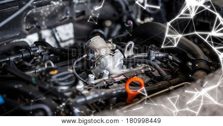 Digital composite of Car engine with white network