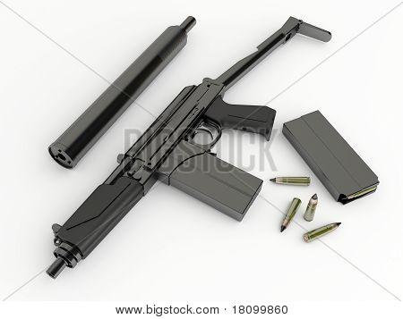 Compact submachine-gun 9a91 with silenced