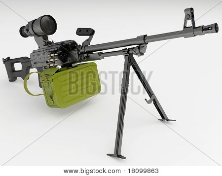 Model of the Russian Kalashnikov modernized machine gun with night sights poster
