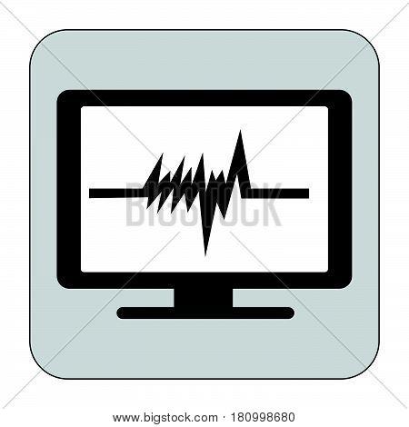 Flat Black Heart Beat Monitor Icon