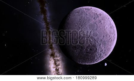 The moon against the backdrop of part of the Milky Way galaxy and the Earth in the distance from space.
