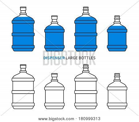 Dispenser large bottles vector illustration. Big plastic flasks for potable water delivery concept. Bottled drinking water for cooler graphic design.