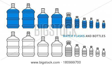 Water flasks and bottles vector illustration. Different plastic bottles and flasks for potable water delivery concept. Bottled drinking water for cooler graphic design.