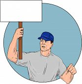 Drawing sketch style illustration of an industrial worker protester activist unionist union worker protesting striking holding up a placard sign looking to the side set inside circle on isolated background. poster