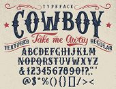 Cowboy take me away. Handcrafted retro textured regular typeface. Vintage font design handwritten alphabet. Original handmade textured lettering poster