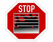 Detailed and colorful illustration of stop sign caging of hen poster